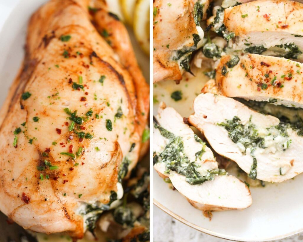 collage of two pictures of cooked breasts whole and then sliced.