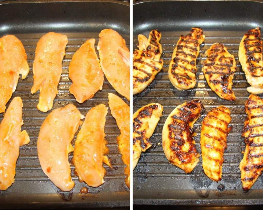 collage of two pictures of raw and then cooked chicken strips cooked in a grill pan.