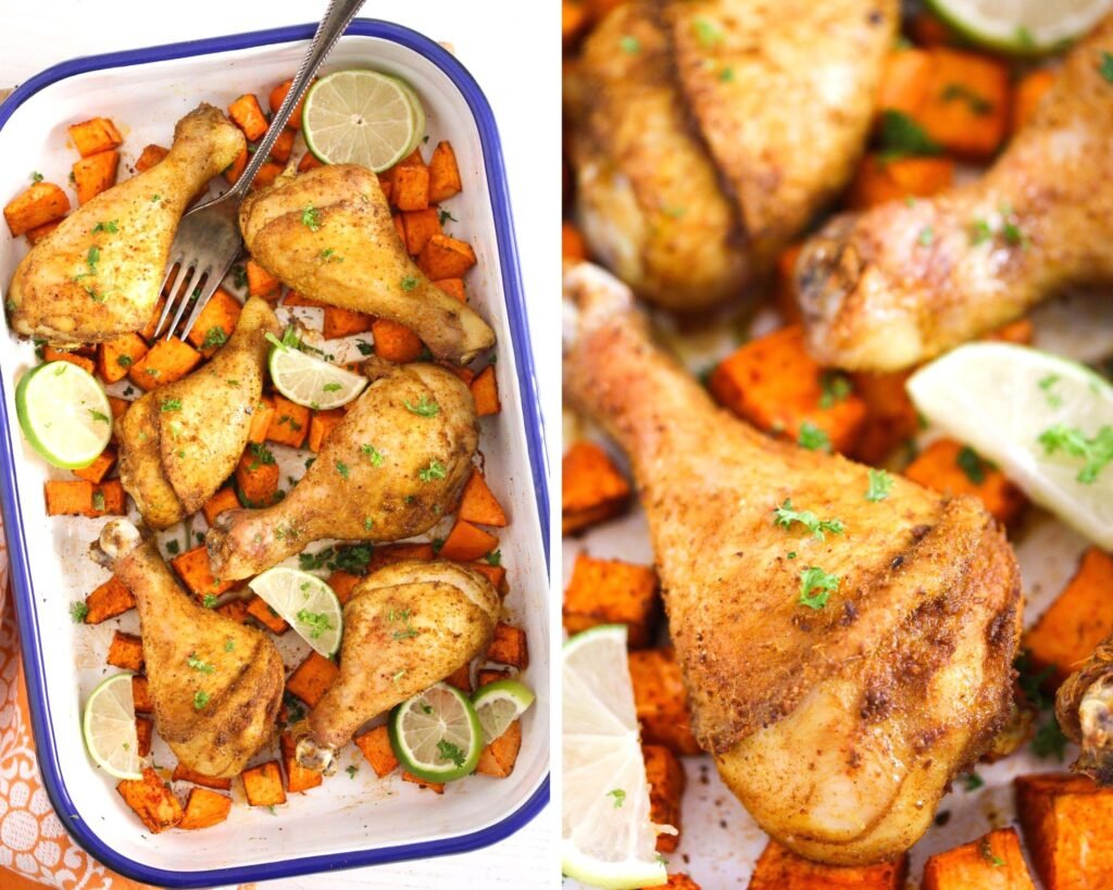 collage of two pictures of roasted chicken with sweet potatoes in a tin and then close up.