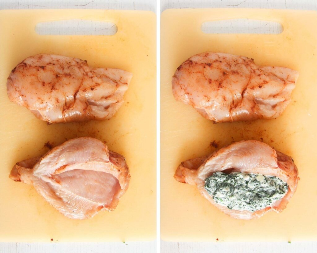 collage of two pictures of splitting chicken breast in the middle and filling with cheese and spinach.