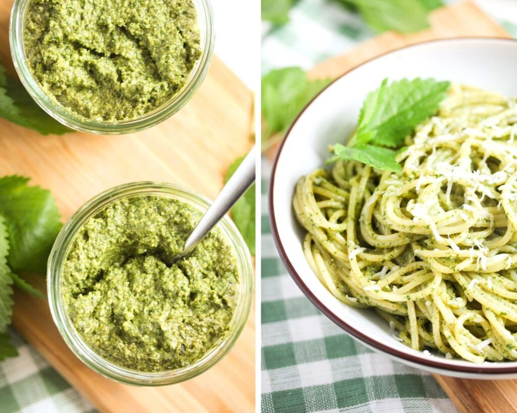 collage of two pictures of pesto in jars and of a bowl of pasta.