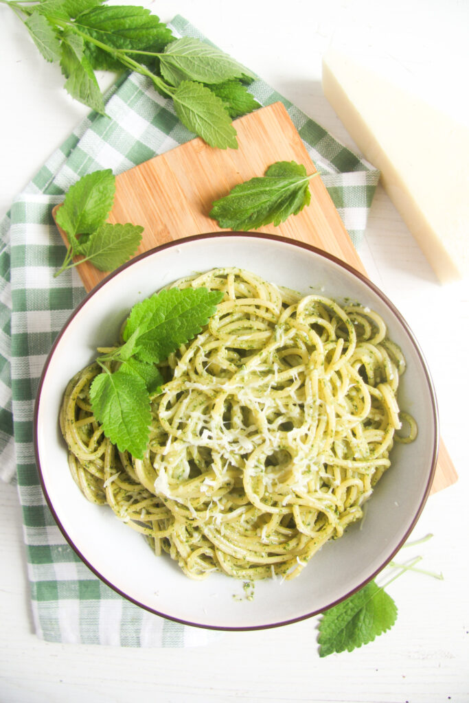 overhead view of a bowl of lemon balm pasta, fresh leaves around.