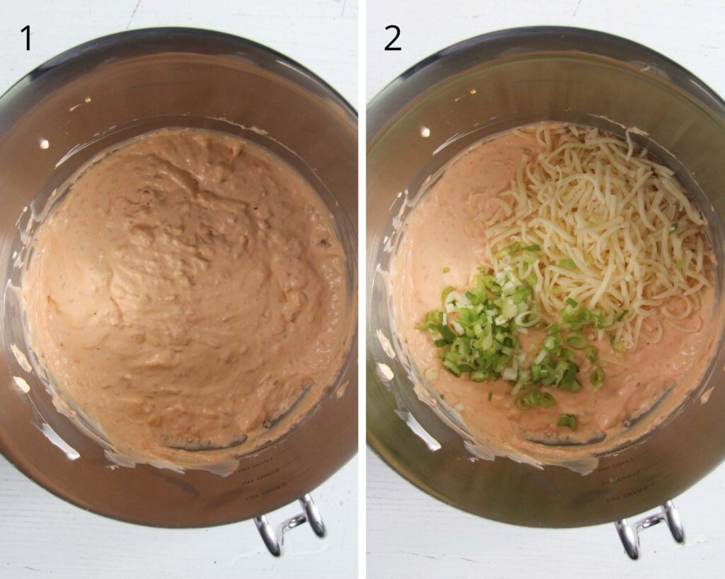 collage of two pictures of mixing cream cheese, sour cream, green onions and grated cheese in a large bowl.