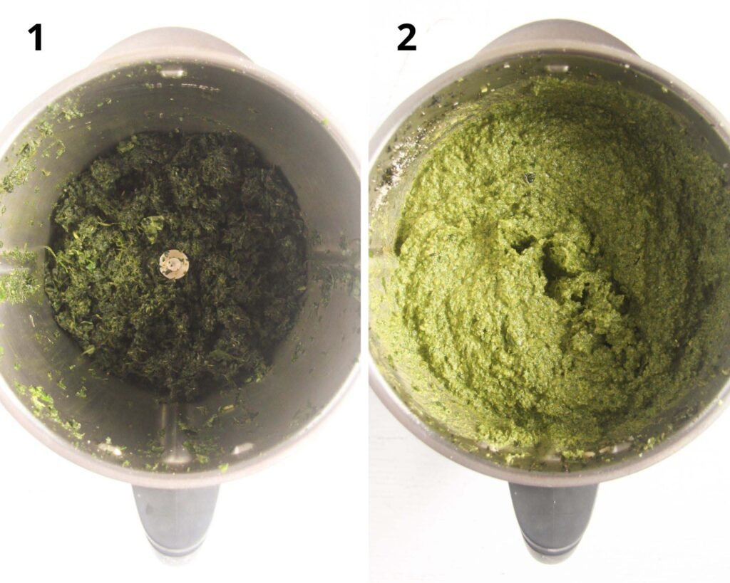 collage of two pictures of a thermomix with crushed herbs inside and then ready pesto.