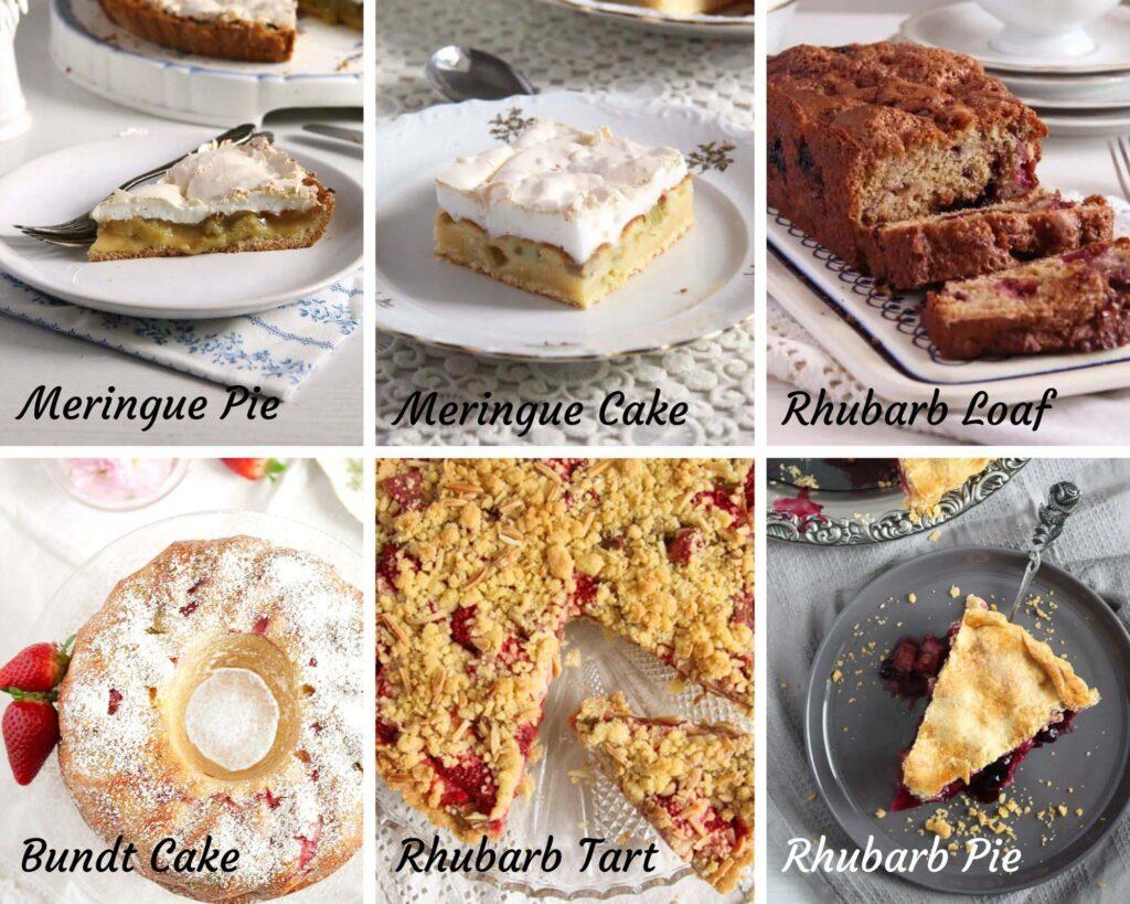 collage of six rhubarb cakes: meringue pie, meringue cake, loaf, bundt cake, tart and pie.