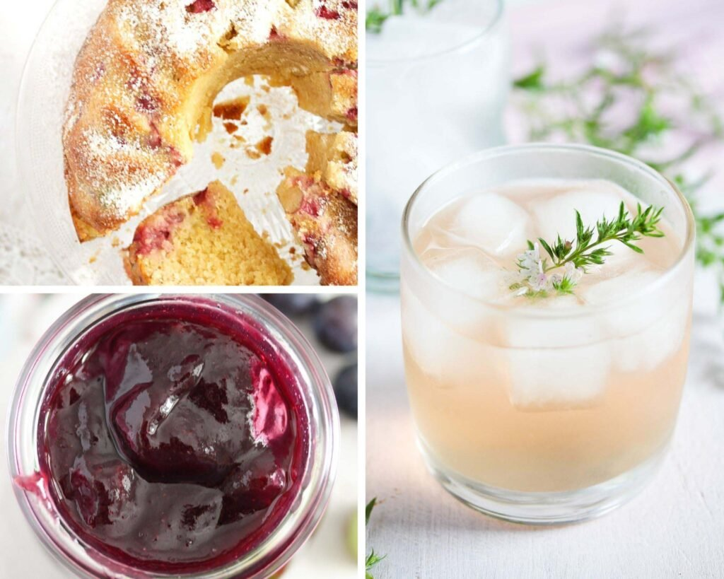collage of three pictures of rhubarb cake, jam and gin.