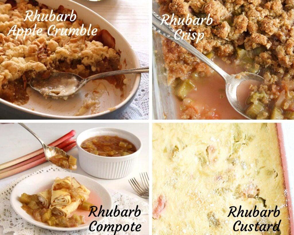 collage of four rhubarb desserts: crumble, crisp, compote, custard.