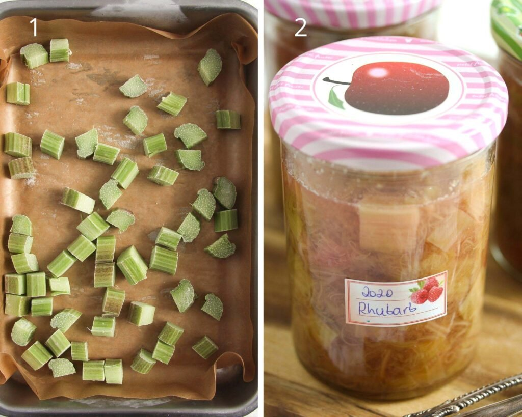 collage of two pictures of frozen rhubarb in a tin and canned in a jar.