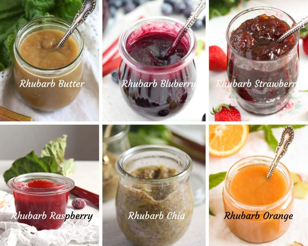 collage of 6 pictures with different sorts of rhubarb jam: butter, blueberry, strawberry, raspberry, chia, orange.