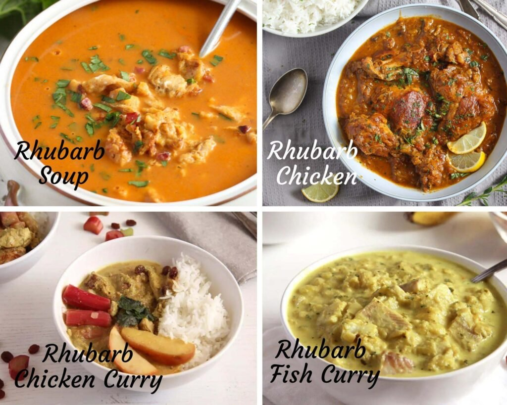 collage of four pictures of savory rhubarb recipes: soup, chicken, chicken curry, fish curry.