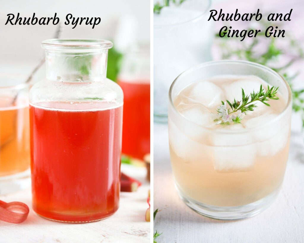 collage of two pictures of rhubarb syrup and rhubarb and ginger gin.