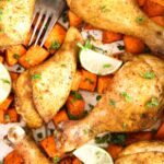 pinterest image of chicken legs served over roasted sweet potatoes.