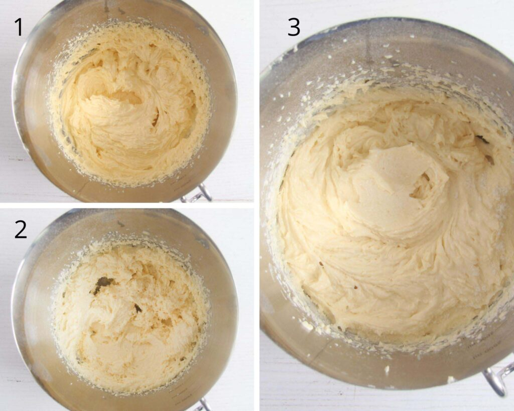 collage of three pictures of stirring batter for cake in a bowl.