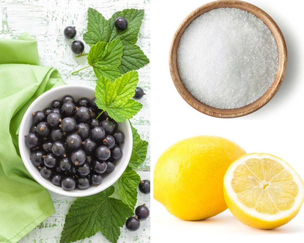 collage of two pictures of a bowl of berries, sugar and one lemon.