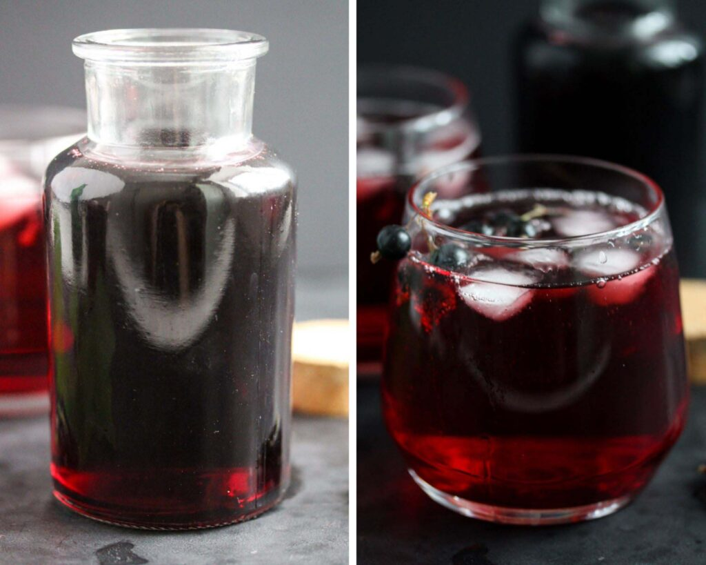 collage of two pictures of homemade cordial in a bottle and in a glass.