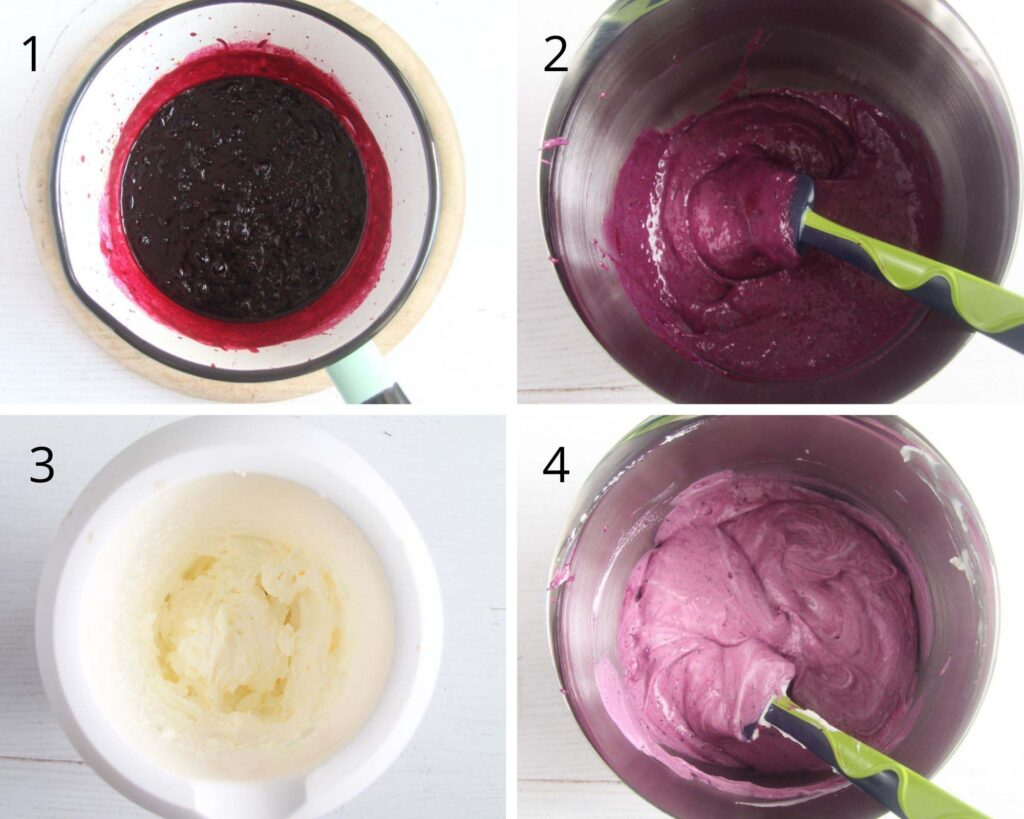 collage of four pictures of cooked black currants, then mixed in a bowl with condensed milk, and heavy cream.