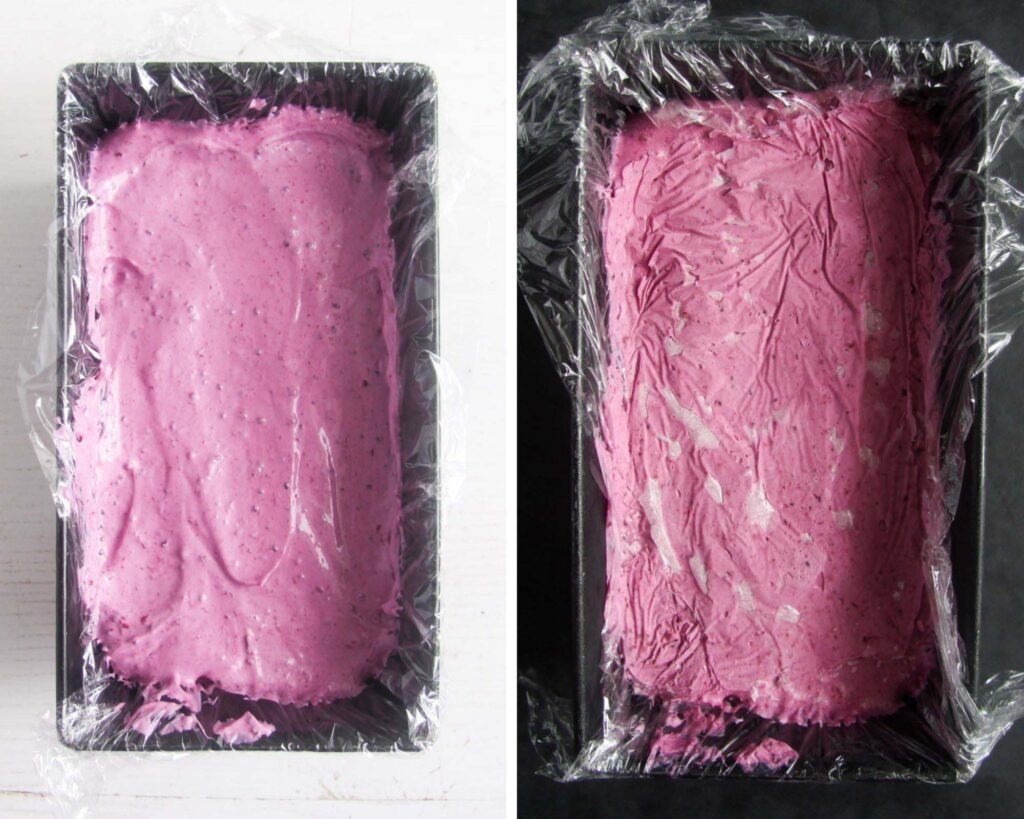 collage of two pictures of no churn ice cream in a tin before and after freezing.