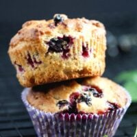 black currant muffins stapled on each other.