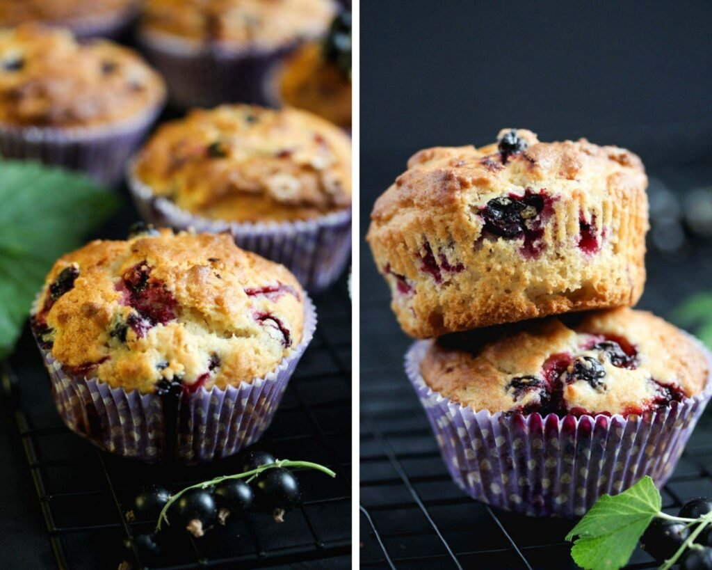 collage of two pictures of muffins with berries.