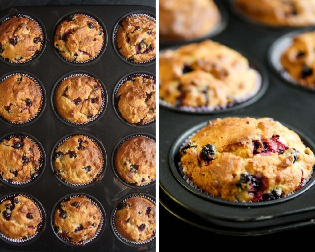 collage of two pictures of a tin full of baked muffins.