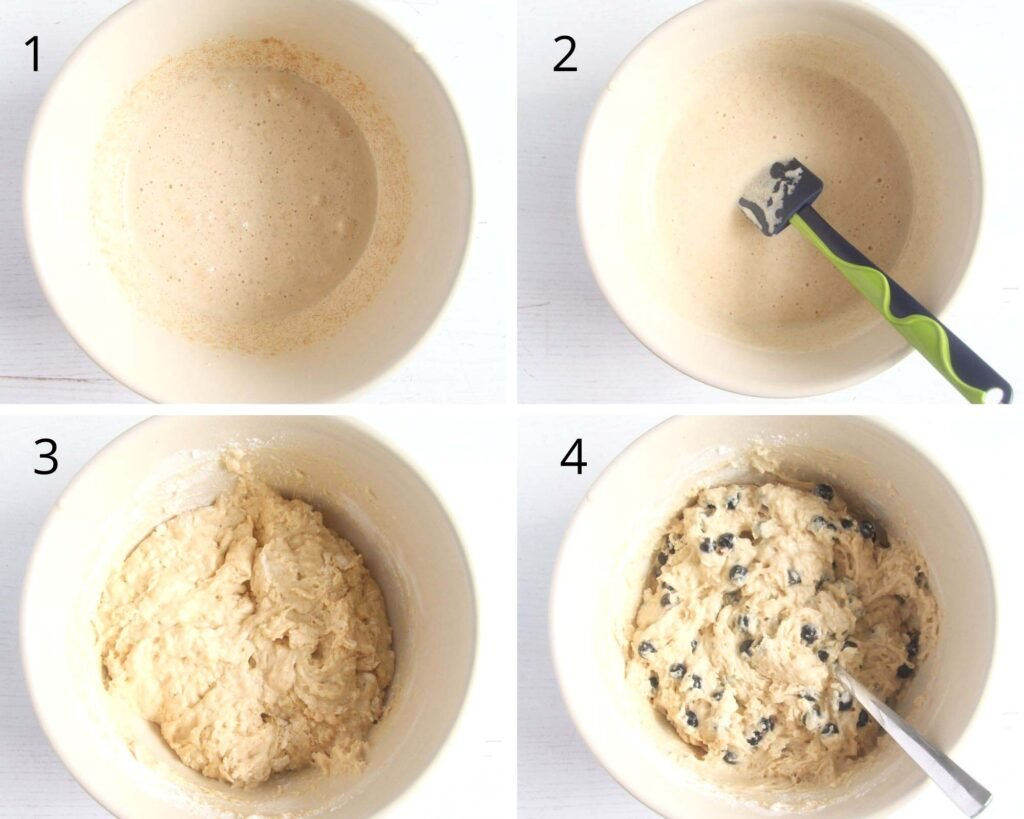 collage of four pictures showing how to make batter with berries.