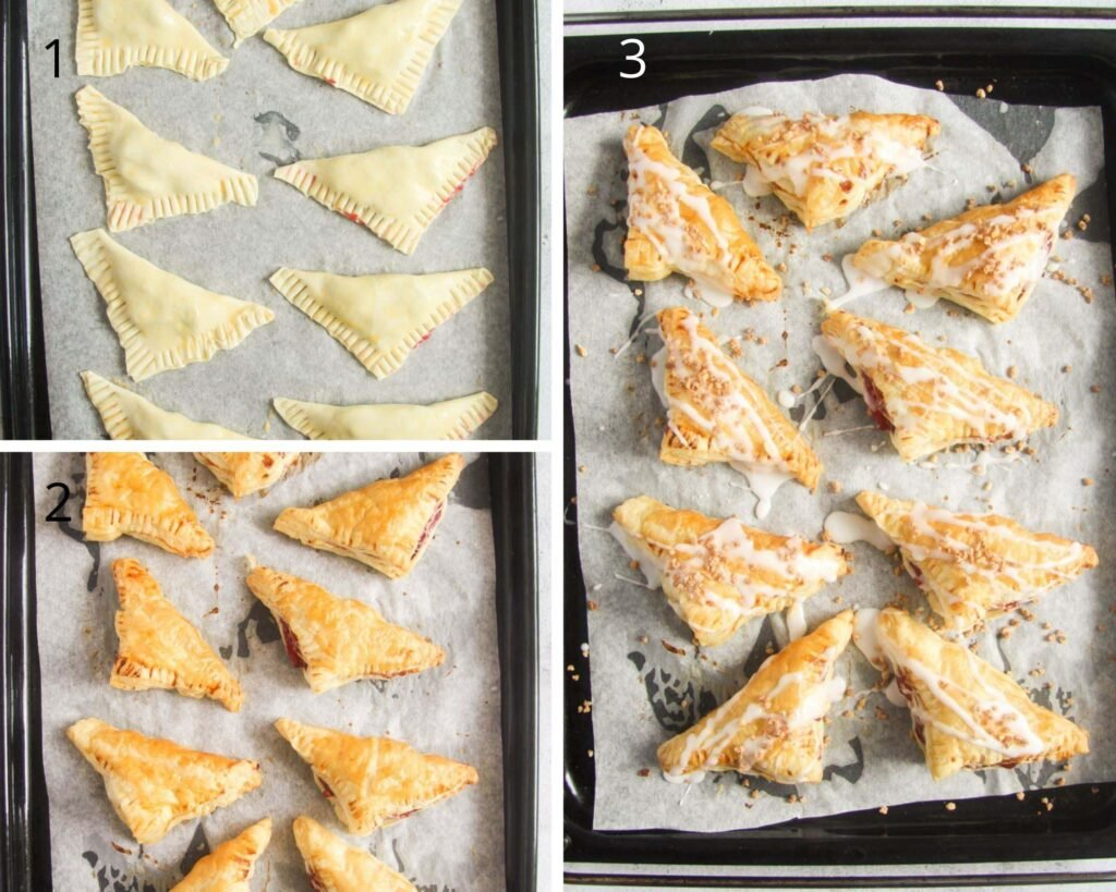 collage of three pictures of pastry triangles before, after baking and after glazing.