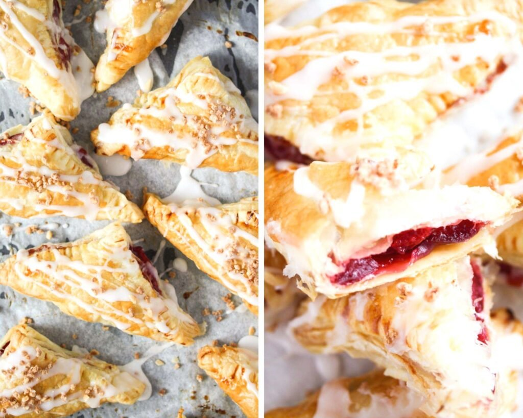 collage of two pictures of glazed pastries on a try and then on split in the middle showing the filling.