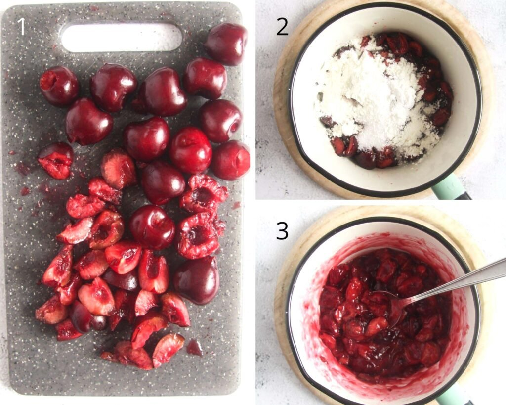 collage of three pictures of pitted cherries, then cooking them with cornstarch in a small pot.