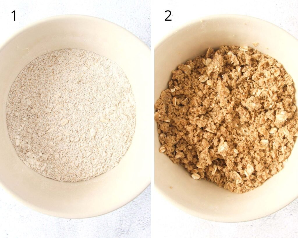 collage of two pictures of making crumbles with oats and cinnamon in a bowl.
