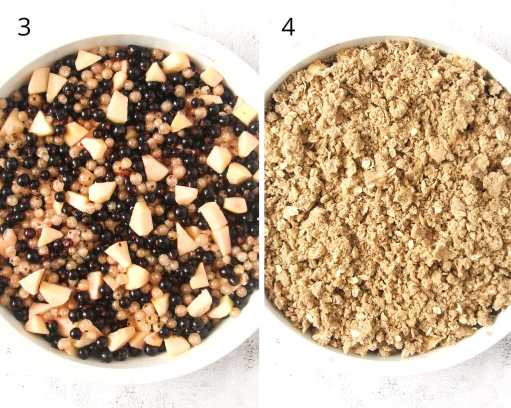 collage of two pictures of filling a baking dish with berries and topping.