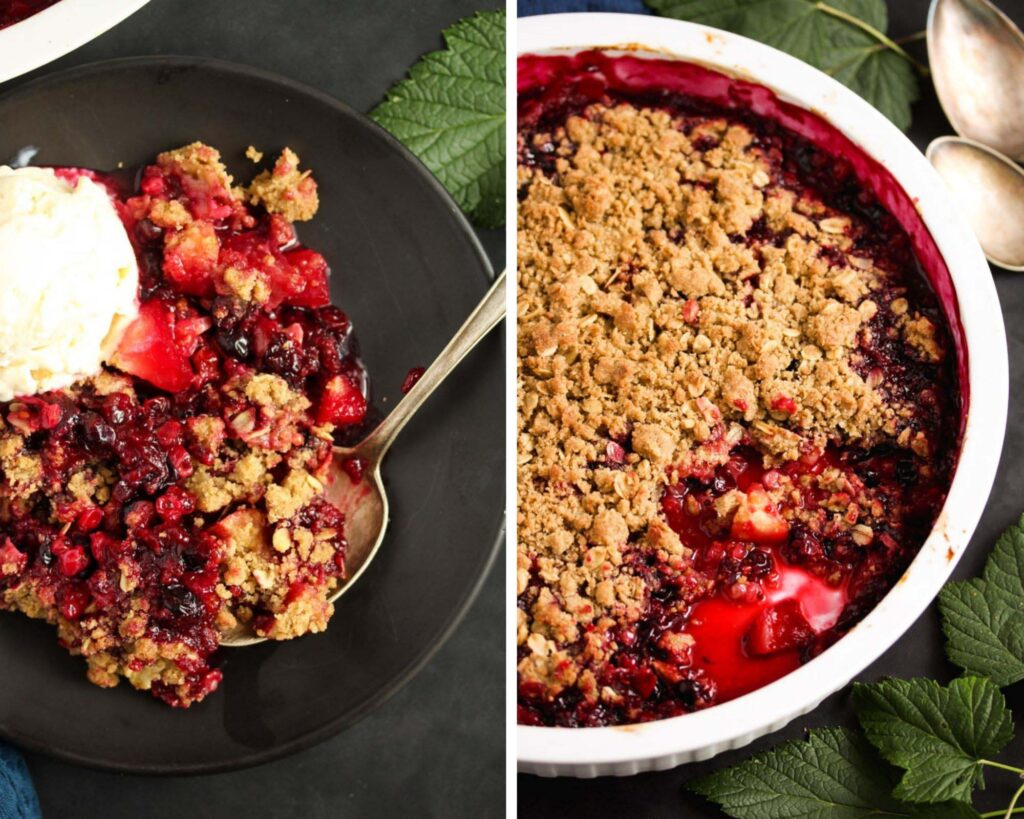 collage of two pictures of berries and crisp on a plate and in a dish.