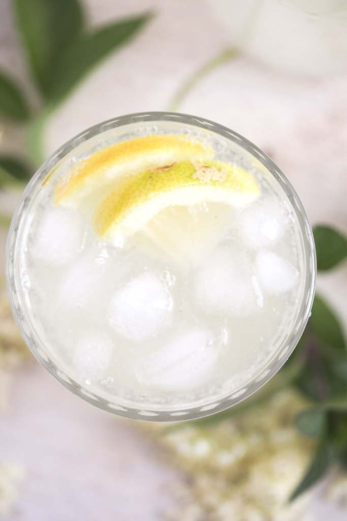 overhead view of a lemonade glass with ice cubes and lemon slices.