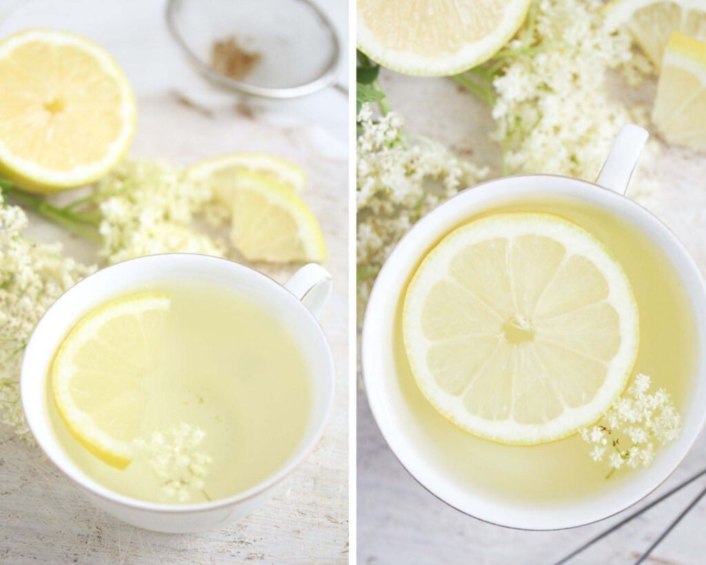 collage of two pictures of elderflower tea with lemon slices.
