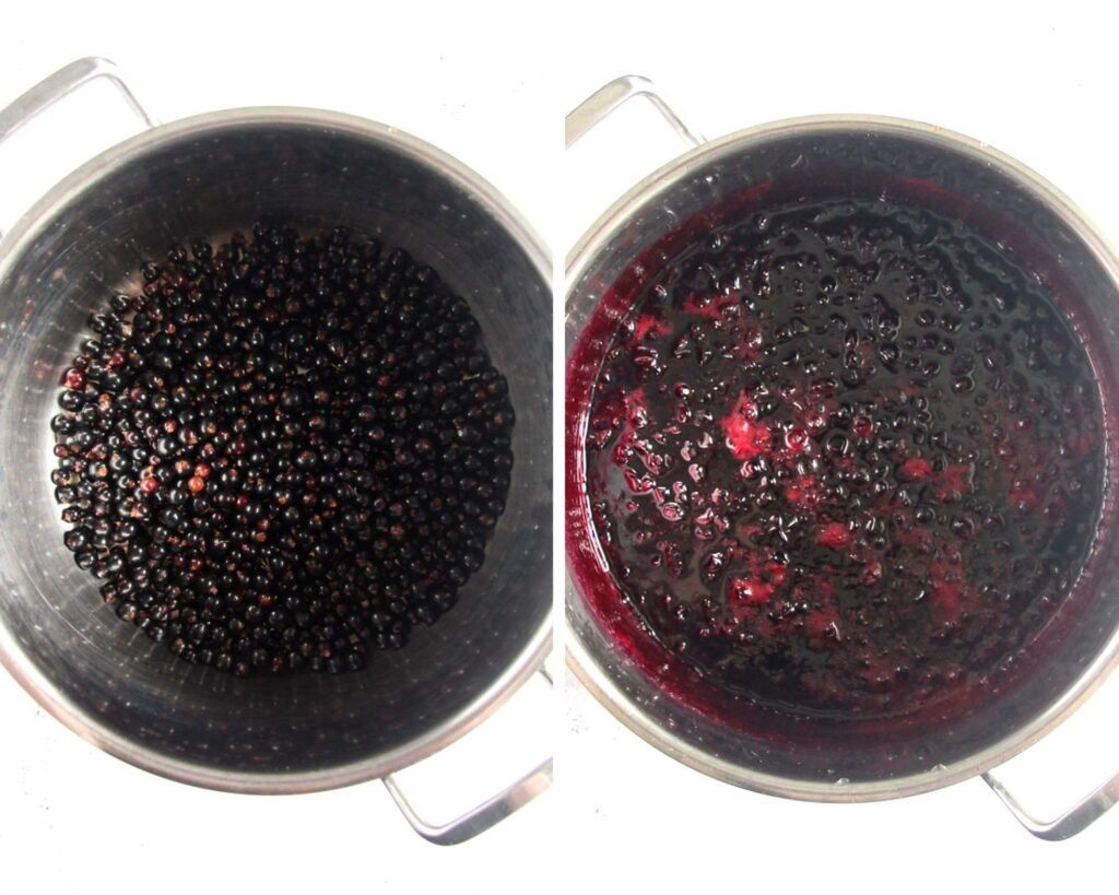 collage of two pictures of berries in sugar syrup and then cooked in a large pot.