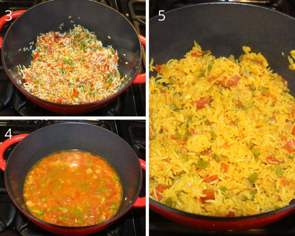 collage of three pictures of cooking rice in a dutch oven.