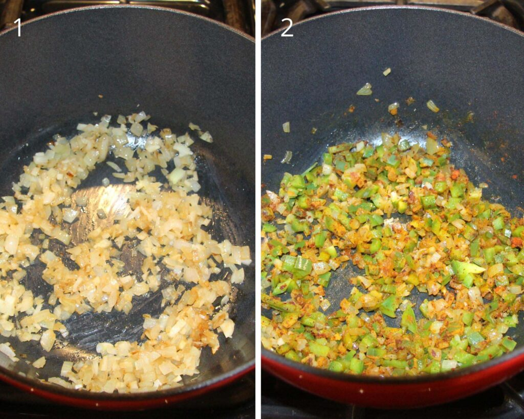 collage of two pictures of cooking onions and vegetables in a dutch oven.