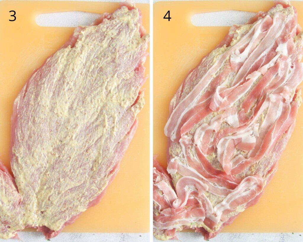 collage of two pictures of meat smeared with mustard and covered with thin bacon slices.