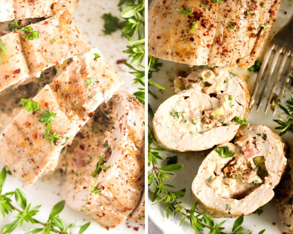 collage of two pictures of pork tenderloin stuffed with cream cheese and bacon.