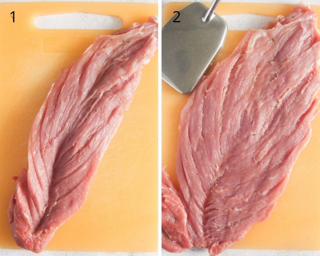 collage of two pictures of butterflying a pork filet.
