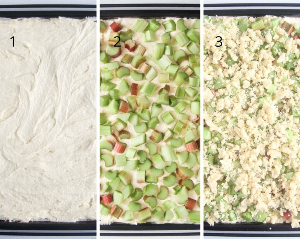collage of three pictures of batter on a tray being topped with chopped rhubarb and crumbs.