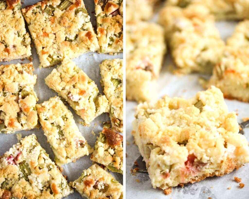 collage of two pictures of rhubarb cake with crumbles on a baking tray.
