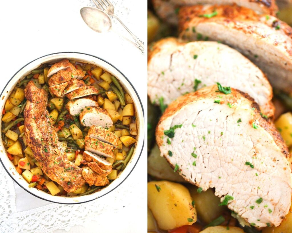 collage of two pictures of pork tenderloin in a pot and then close up of slices.
