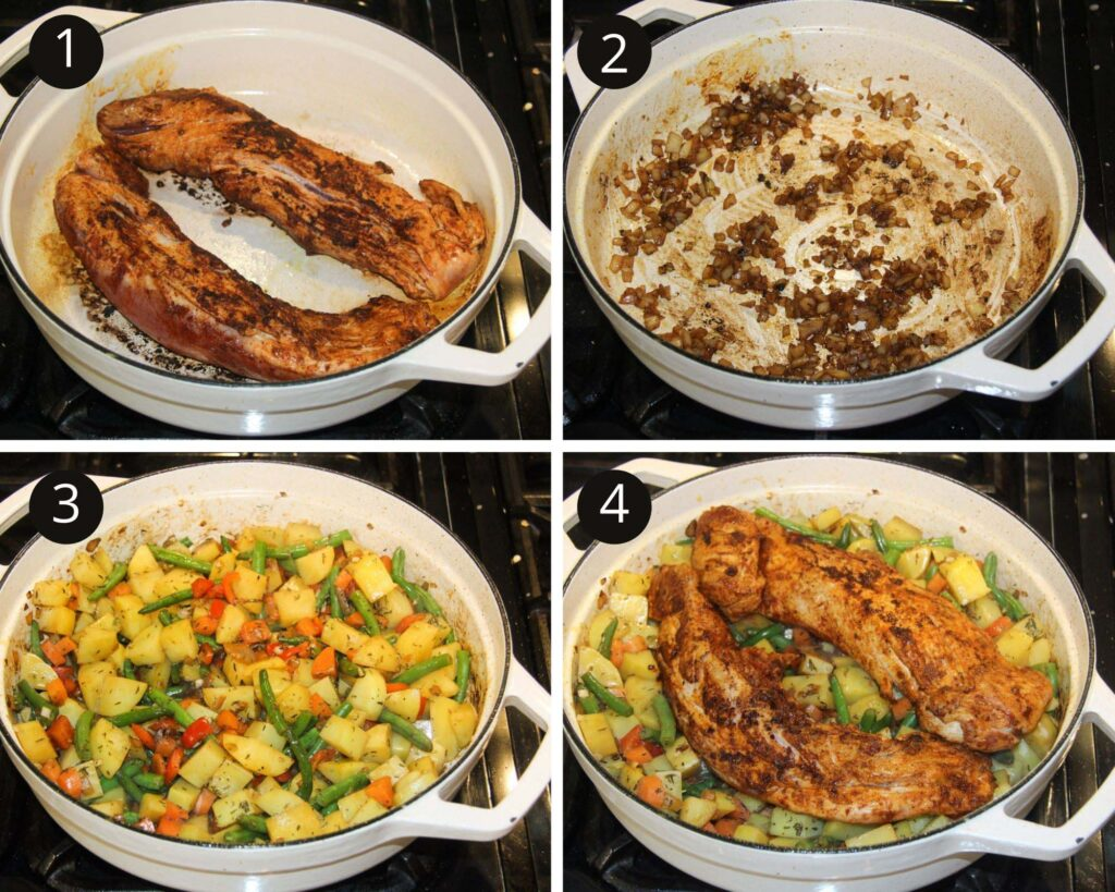 collage of four pictures of searing pork, cooking onions and potatoes and adding meat on top.