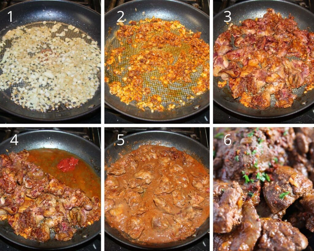 collage of six pictures of frying onions, adding spices, frying livers and finished dish.