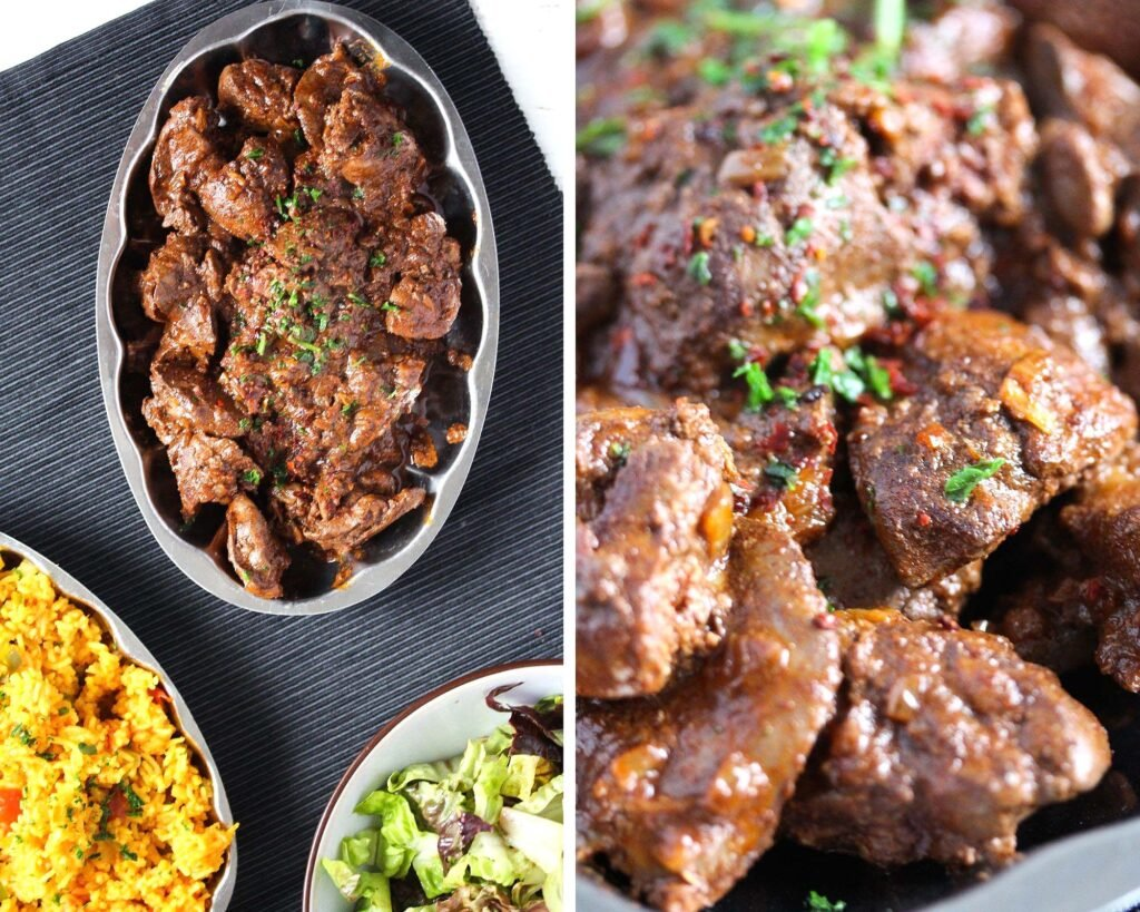 collage of two pictures of cooked offal on a platter and close up.