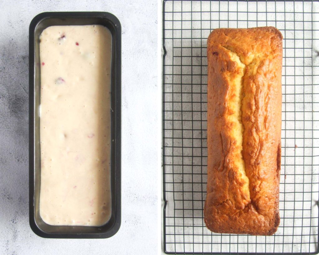 loaf cake in a tin before and after baking.
