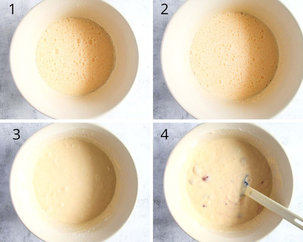 collage of four pictures of mixing batter in a bowl.