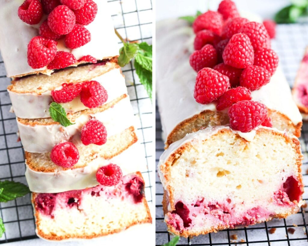 collage of two pictures of loaf cake topped with white ganache and berries.