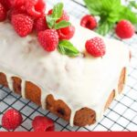 pinterest image of raspberry loaf with title below.