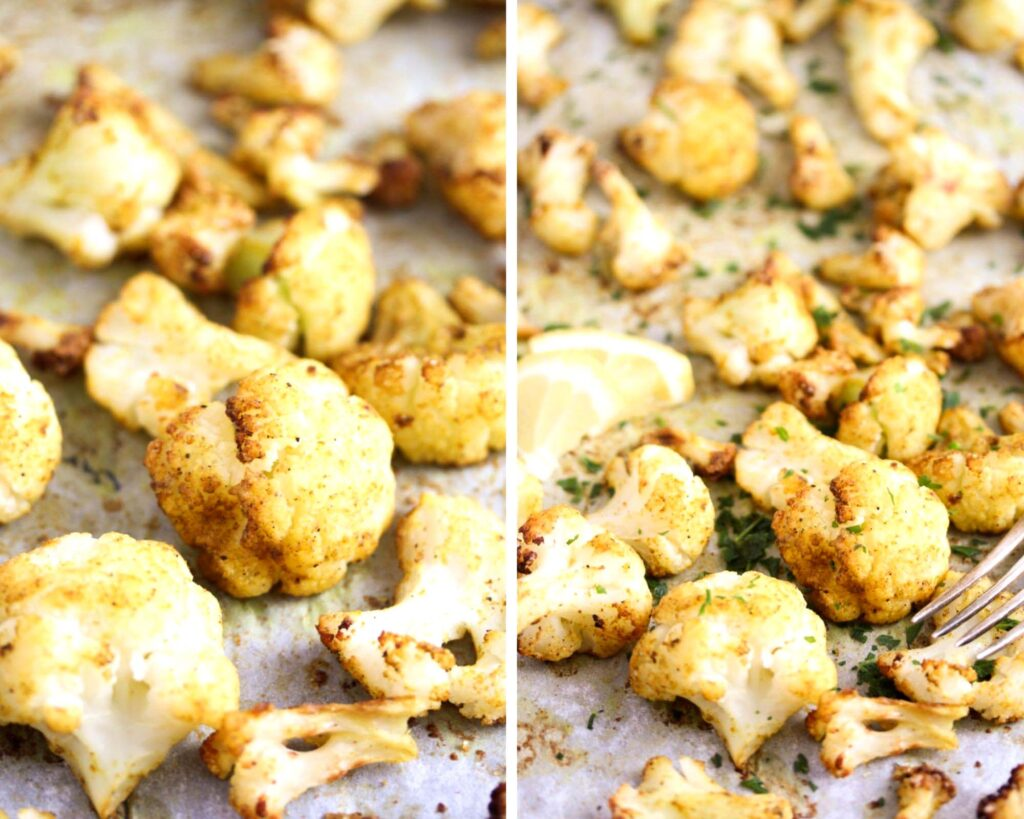 collage of two pictures of baked curried veggies on a baking tray.